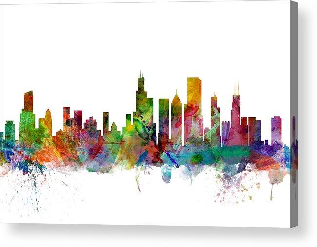 Chicago Acrylic Print featuring the digital art Chicago Illinois Skyline by Michael Tompsett