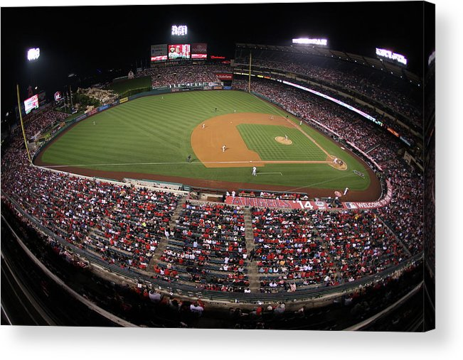 American League Baseball Acrylic Print featuring the photograph Oakland Athletics V. Los Angeles Angels 6 by Paul Spinelli