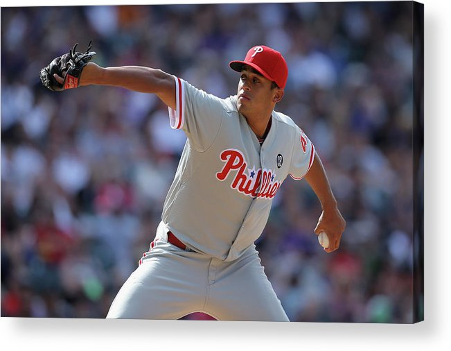 Relief Pitcher Acrylic Print featuring the photograph Philadelphia Phillies V Colorado Rockies by Doug Pensinger