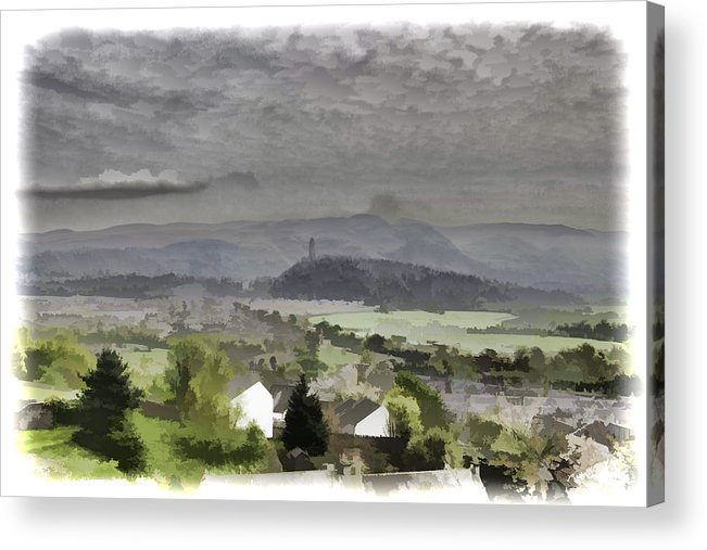 Action Acrylic Print featuring the photograph View Of Wallace Monument And Surrounding Areas by Ashish Agarwal