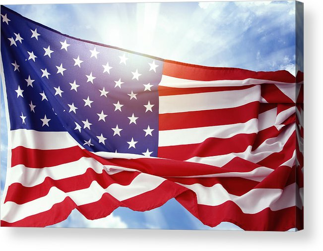 American Acrylic Print featuring the photograph American Flag by Les Cunliffe