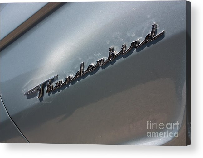 1965 Acrylic Print featuring the photograph 65 T-bird Emblem-7876 by Gary Gingrich Galleries