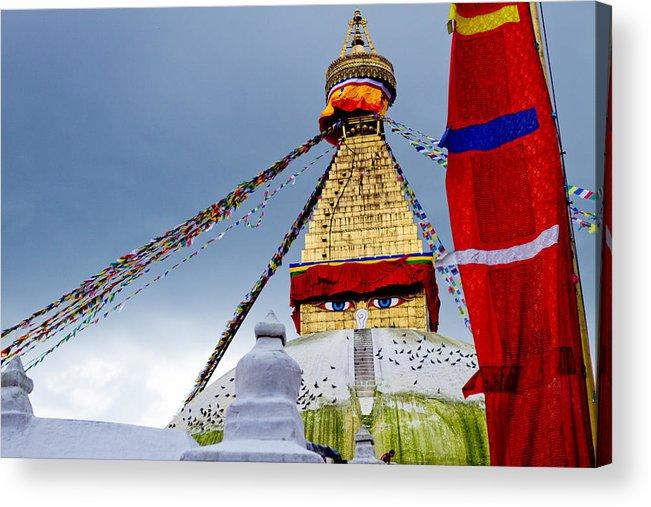Wisdom Acrylic Print featuring the photograph Bodhnath Stupa In Nepal by Raimond Klavins