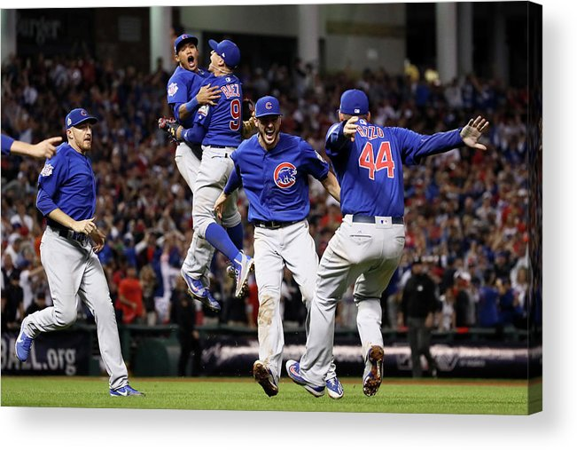 People Acrylic Print featuring the photograph World Series - Chicago Cubs V Cleveland 7 by Ezra Shaw