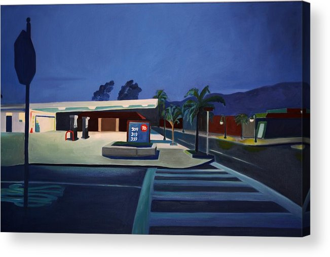 Gas Stations Acrylic Print featuring the painting 76 At Night by Lety Garcia