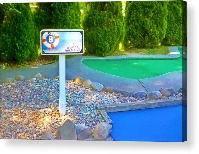 8 Hole Sign On Golf Course Acrylic Print featuring the painting 8 Hole Sign On Golf Course by Jeelan Clark