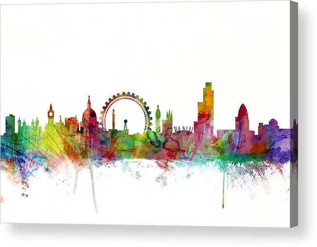 London Acrylic Print featuring the digital art London England Skyline by Michael Tompsett