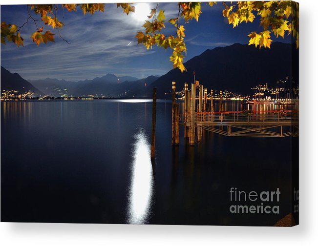 Moon Acrylic Print featuring the photograph Moon Light Over An Alpine Lake by Mats Silvan