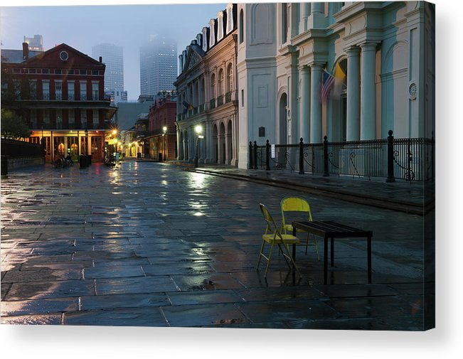 Dawn Acrylic Print featuring the photograph A Courtyard At Dusk With A Card Table by Karenmassier