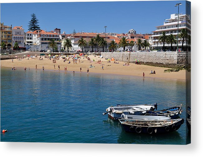 Seascape; Portugal;boats; Beach Scene; Land Scape; Sunny Day Acrylic Print featuring the photograph A Day At The Beach by Sandy Molinaro