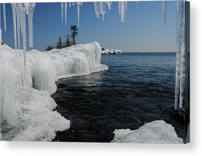 Ice Cave  Lake Superior  Ice Formations Acrylic Print featuring the photograph A Different Point Of View by Sandra Updyke