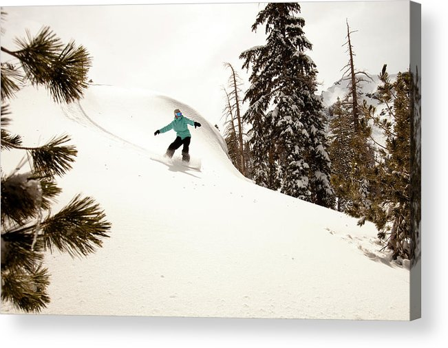 California Acrylic Print featuring the photograph A Female Snowboarder Lays Out Some by Kyle Sparks