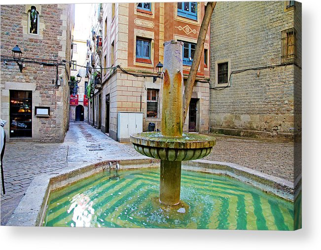 Spain Acrylic Print featuring the photograph A Gothic Fountain by Evan Peller