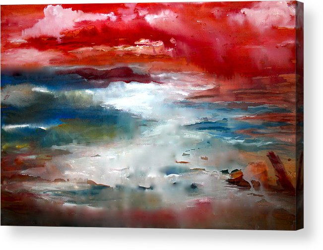 Water Acrylic Print featuring the painting A Walk On Kauai by Nancy Gebhardt