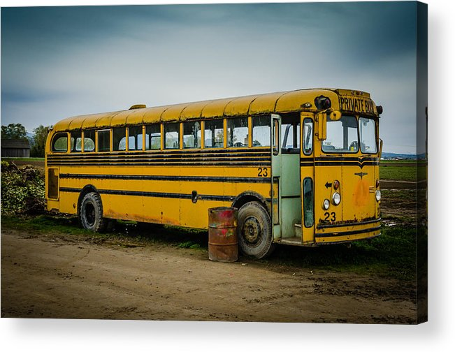 Abandoned Acrylic Print featuring the photograph Abandoned School Bus by Puget Exposure