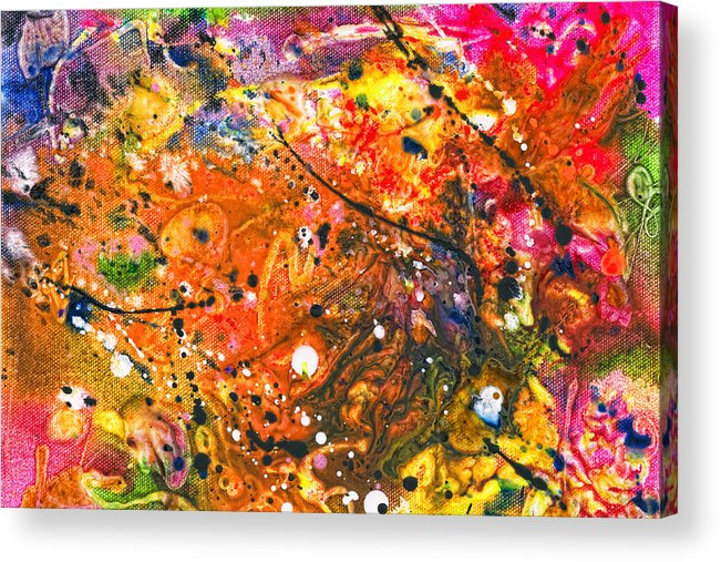 Abstract Acrylic Print featuring the mixed media Abstract - Crayon - The Excitement by Mike Savad