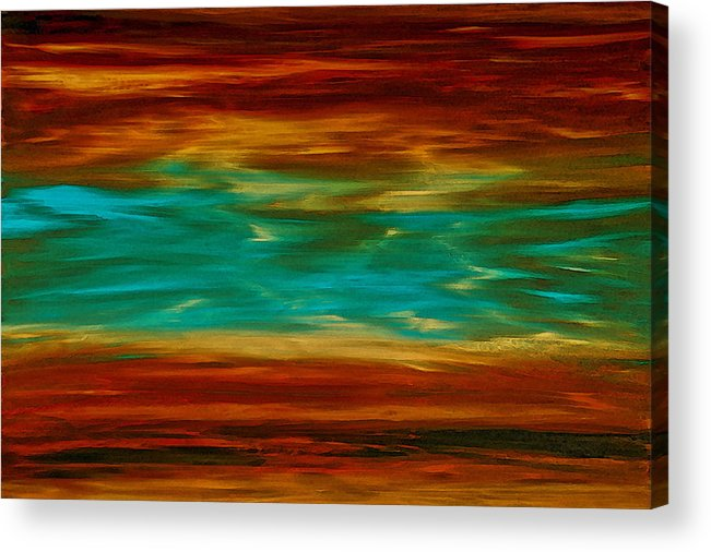 Copper Acrylic Print featuring the painting Abstract Landscape Art - Fire Over Copper Lake - By Sharon Cummings by Sharon Cummings