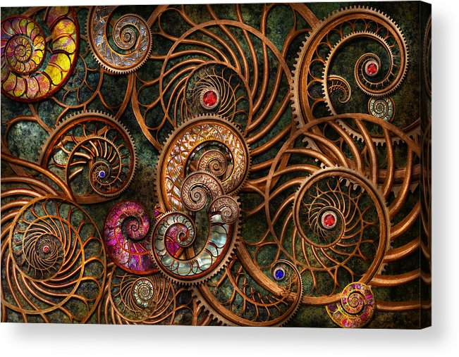 Steampunk Acrylic Print featuring the photograph Abstract - The Wonders Of Sea by Mike Savad
