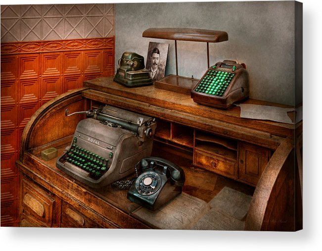 Accountant Acrylic Print featuring the photograph Accountant - Typewriter - The Accountants Office by Mike Savad