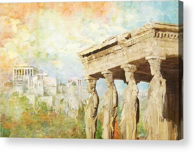 Greecetemple Of Apollo Epicurius At Bassaeacropolis Acrylic Print featuring the painting Acropolis Of Athens by Catf