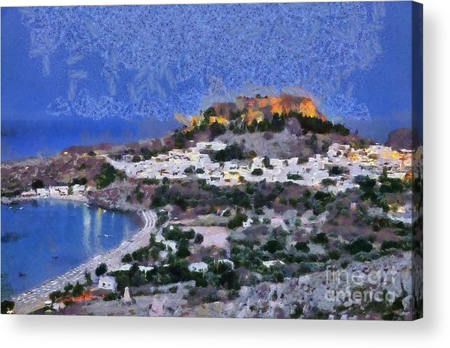Rhodes Acrylic Print featuring the painting Acropolis Village And Beach Of Lindos by George Atsametakis