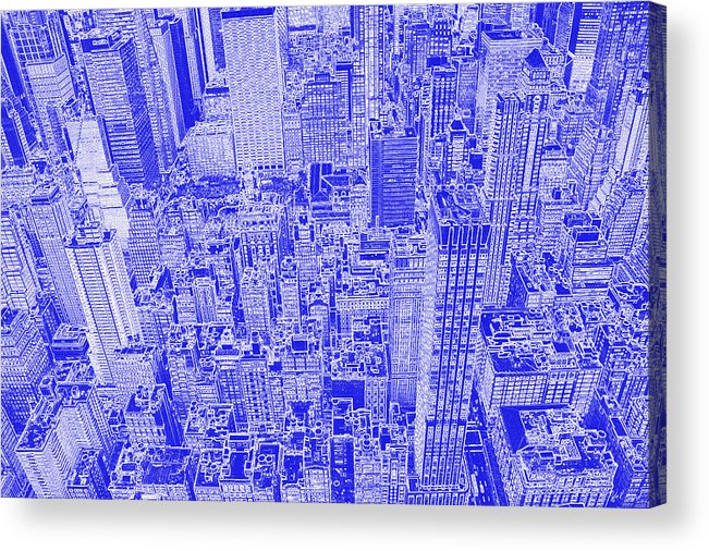 Aerial view of new york city in blueprint acrylic print by nola blueprint acrylic print featuring the digital art aerial view of new york city in blueprint by malvernweather Image collections