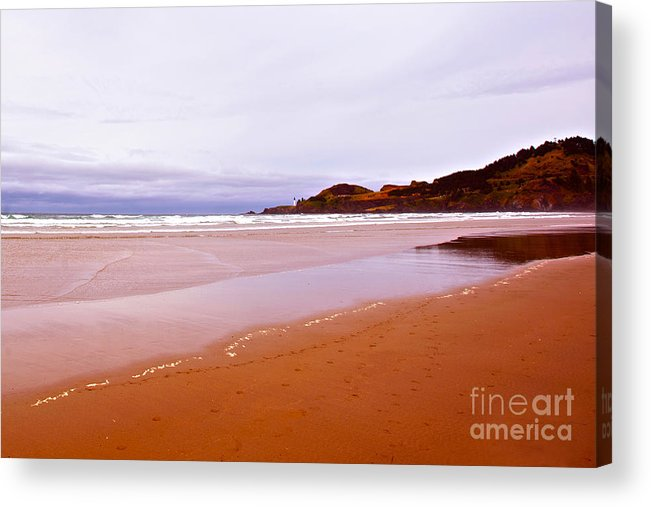 Agate Beach Oregon Acrylic Print featuring the photograph Agate Beach Oregon With Yaquina Head Lighthouse by Artist and Photographer Laura Wrede