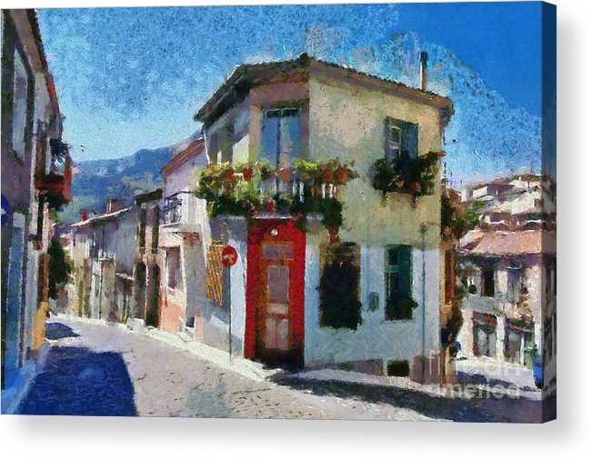 Lesvos; Lesbos; Agiassos; Agiasos; Village; Street; Alley; Pedestrian; Architecture; Tradition; Traditional; House; Houses; Islands; Greece; Hellas; Greek; Island; Hellenic; Aegean; Summer; Holidays; Vacation; Tourism; Touristic; Travel; Trip; Voyage; Journey Acrylic Print featuring the painting Agiassos Village by George Atsametakis