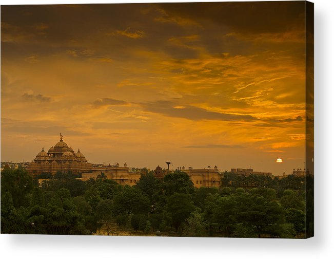 Landscape Acrylic Print featuring the photograph Akshardham Temple Sunset by Aaron Bedell