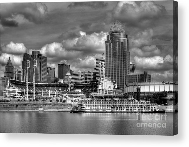 Cityscapes Acrylic Print featuring the photograph All American City Bw by Mel Steinhauer