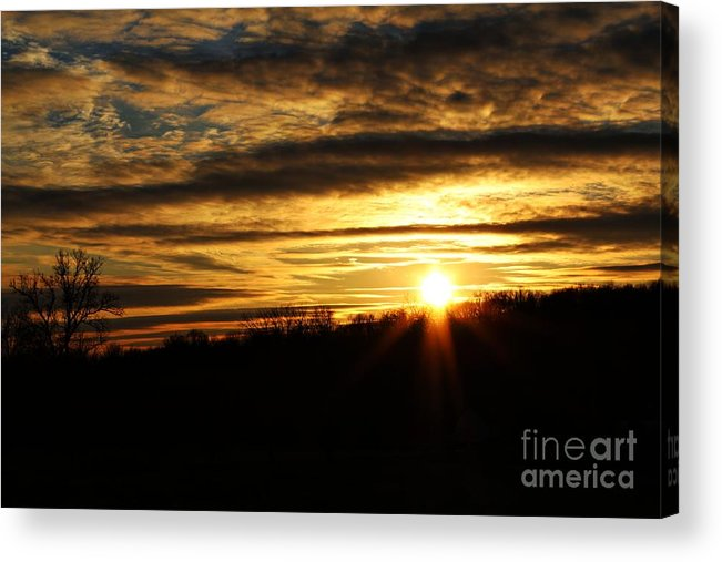 Sunset Acrylic Print featuring the photograph Amber Sky Over The Hills by Scott B Bennett