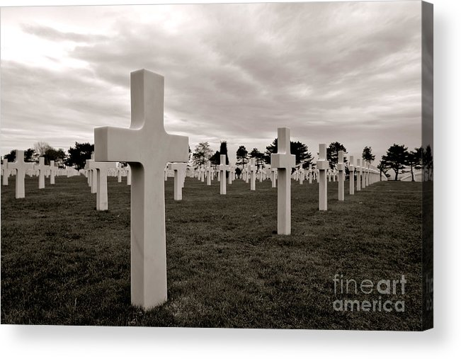 France Acrylic Print featuring the photograph American Cemetery In Normandy by Olivier Le Queinec