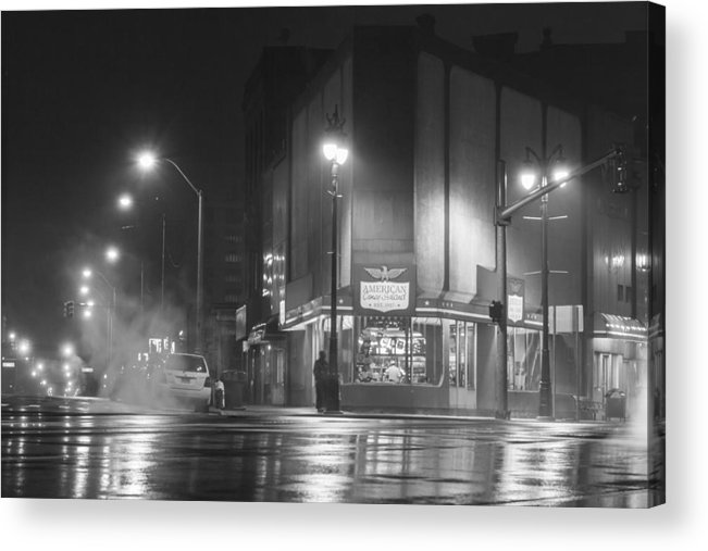 Detroit Acrylic Print featuring the photograph American Coney In Detroit Black And White by John McGraw