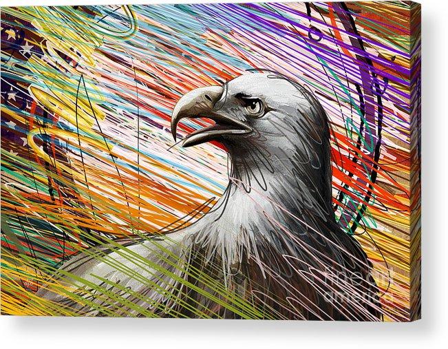 Eagle Acrylic Print featuring the digital art American Eagle by Bedros Awak