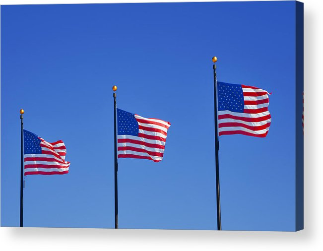 Three Acrylic Print featuring the photograph American Flags - Navy Pier Chicago by Christine Till