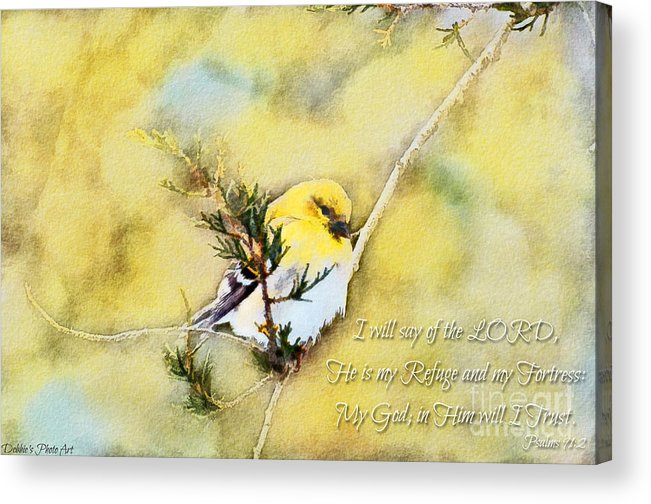 Branch Acrylic Print featuring the photograph American Goldfinch On A Cedar Twig With Digital Paint And Verse by Debbie Portwood
