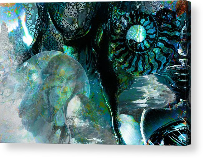 Ocean Acrylic Print featuring the digital art Ammonite Seascape by Lisa Yount
