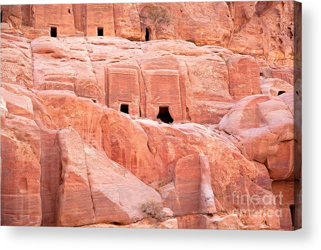 Ancient Acrylic Print featuring the photograph Ancient Buildings In Petra by Jane Rix