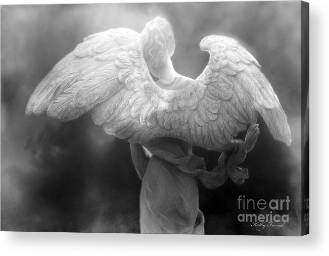 Beautiful Angel Art Acrylic Print featuring the photograph Angel Wings - Dreamy Surreal Angel Wings Black And White Fine Art Photography by Kathy Fornal