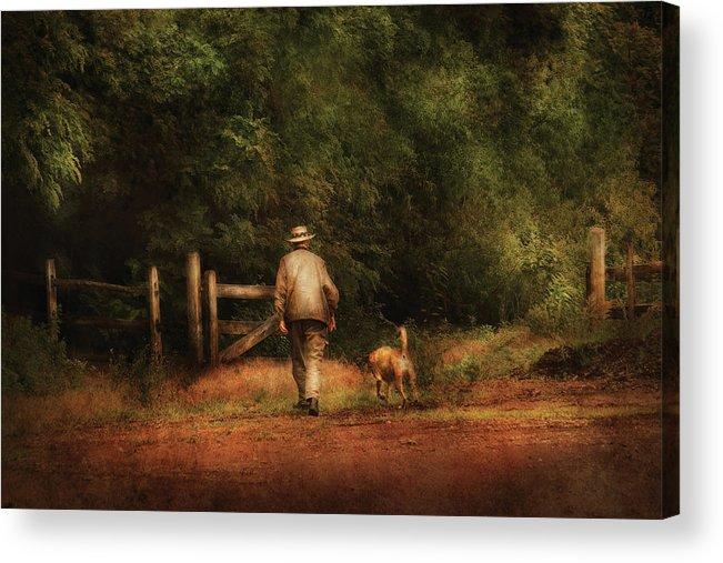 Savad Acrylic Print featuring the photograph Animal - Dog - A Man And His Best Friend by Mike Savad