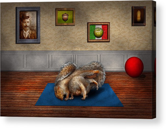 Squirrel Acrylic Print featuring the photograph Animal - Squirrel - And Stretch Two Three Four by Mike Savad