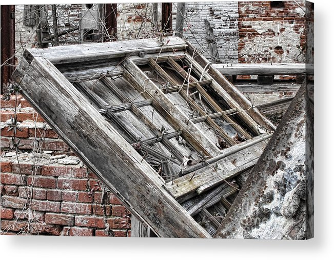 Abandoned Acrylic Print featuring the photograph Antique Wood Window by Olivier Le Queinec