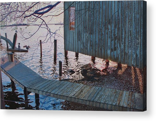Florida Acrylic Print featuring the painting Apalachacola Fish House by Alan Mintz