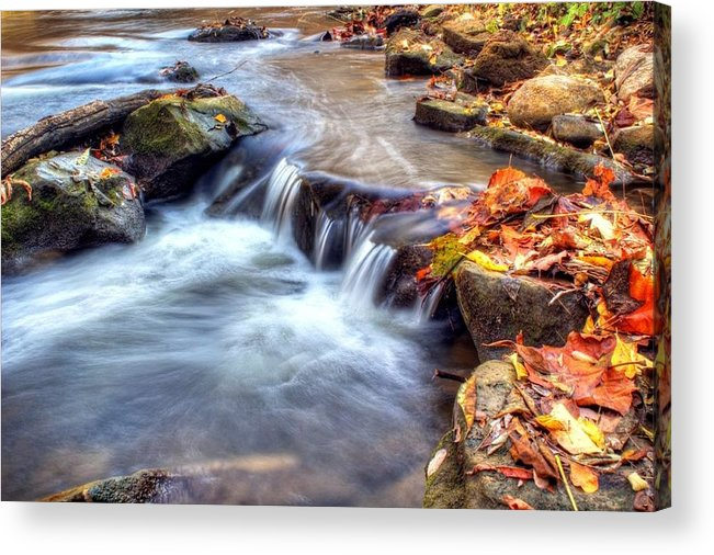 Fall Acrylic Print featuring the photograph Art For Crohn's Hdr Fall Creek by Tim Buisman