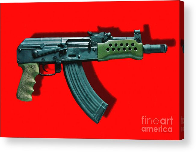 Gun Acrylic Print featuring the photograph Assault Rifle Pop Art - 20130120 - V1 by Wingsdomain Art and Photography