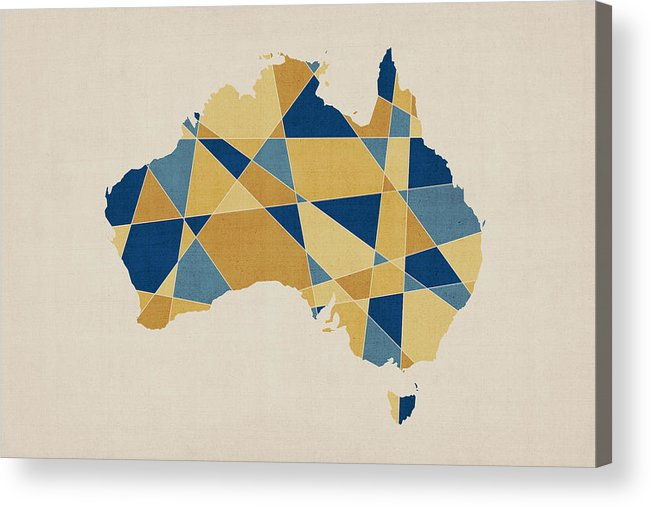 Australia Map Acrylic Print featuring the digital art Australia Geometric Retro Map by Michael Tompsett
