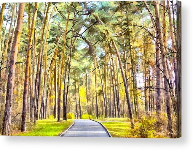 Yellow Acrylic Print featuring the digital art Autumn Park by Vitaly Kozlovtsev
