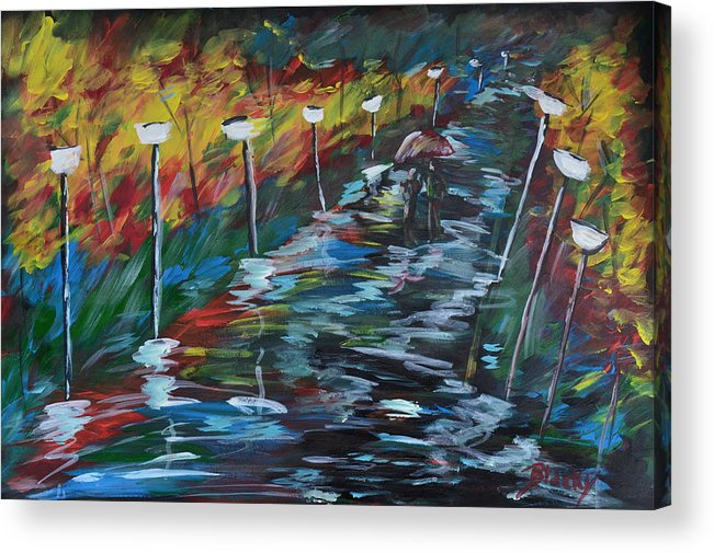 Evening Acrylic Print featuring the painting Avenue Of Shadows by Donna Blackhall