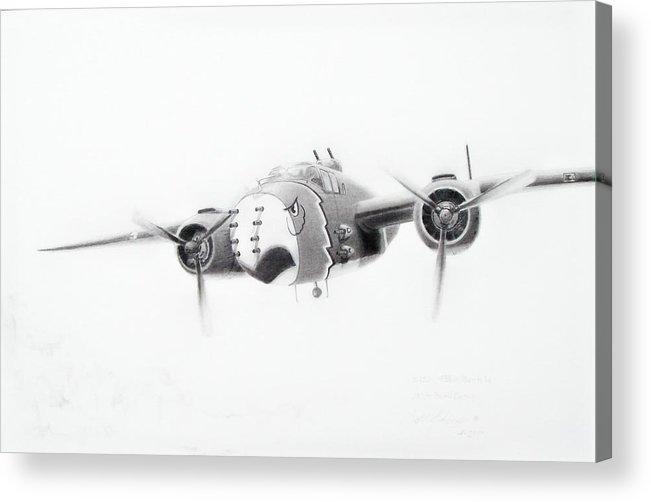 Aviation Art Acrylic Print featuring the drawing B-25 Mitchell by Scott Alcorn