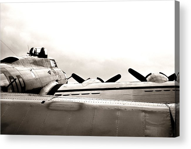 Ww Ii Airplane Acrylic Print featuring the photograph B17 Bomber Wing From Ww II by M K Miller